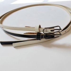 Alice + Oliva Double Strap Belt Black White Large